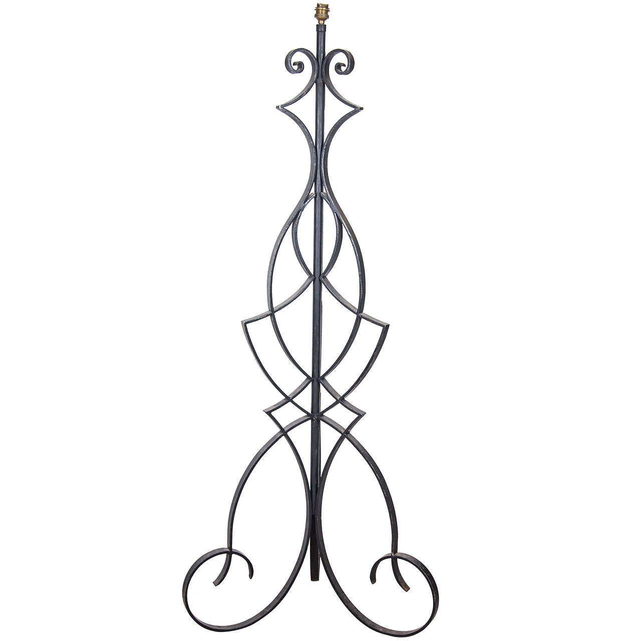 A Mid Century Wrought Iron Floor Lamp Attributed to Robert