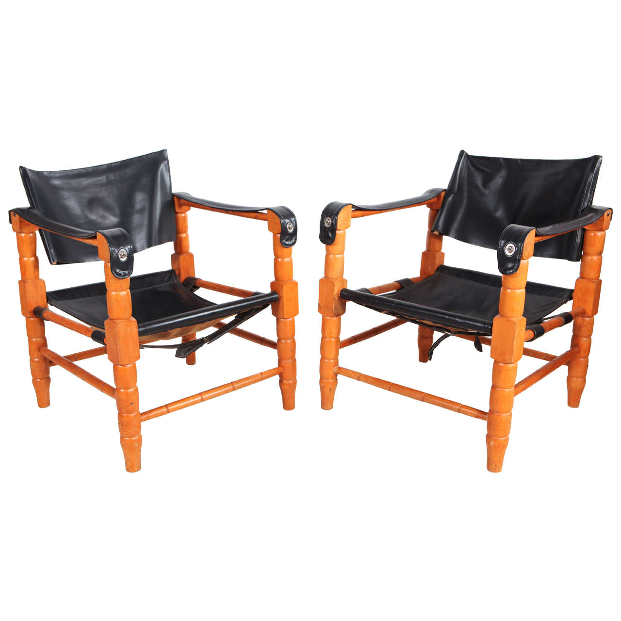 black spindle chair cheap vanity pair of safari style leather and wood framed