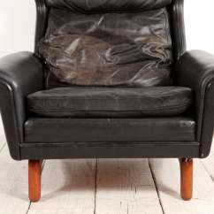 Black Leather Wingback Chair Stand Assist Mid Century Lounge At 1stdibs