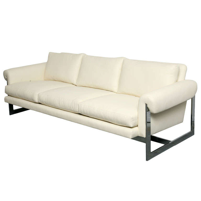 steel frame sofa poet dwr white leather with chromed metal for sale at 1stdibs