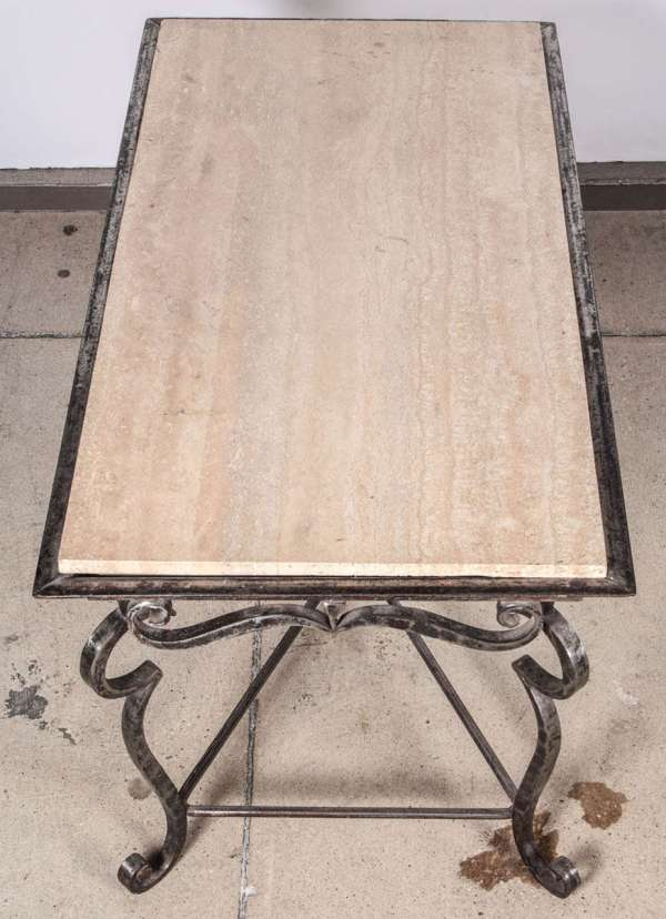 Iron Coffee Table With Travertine Marble Top