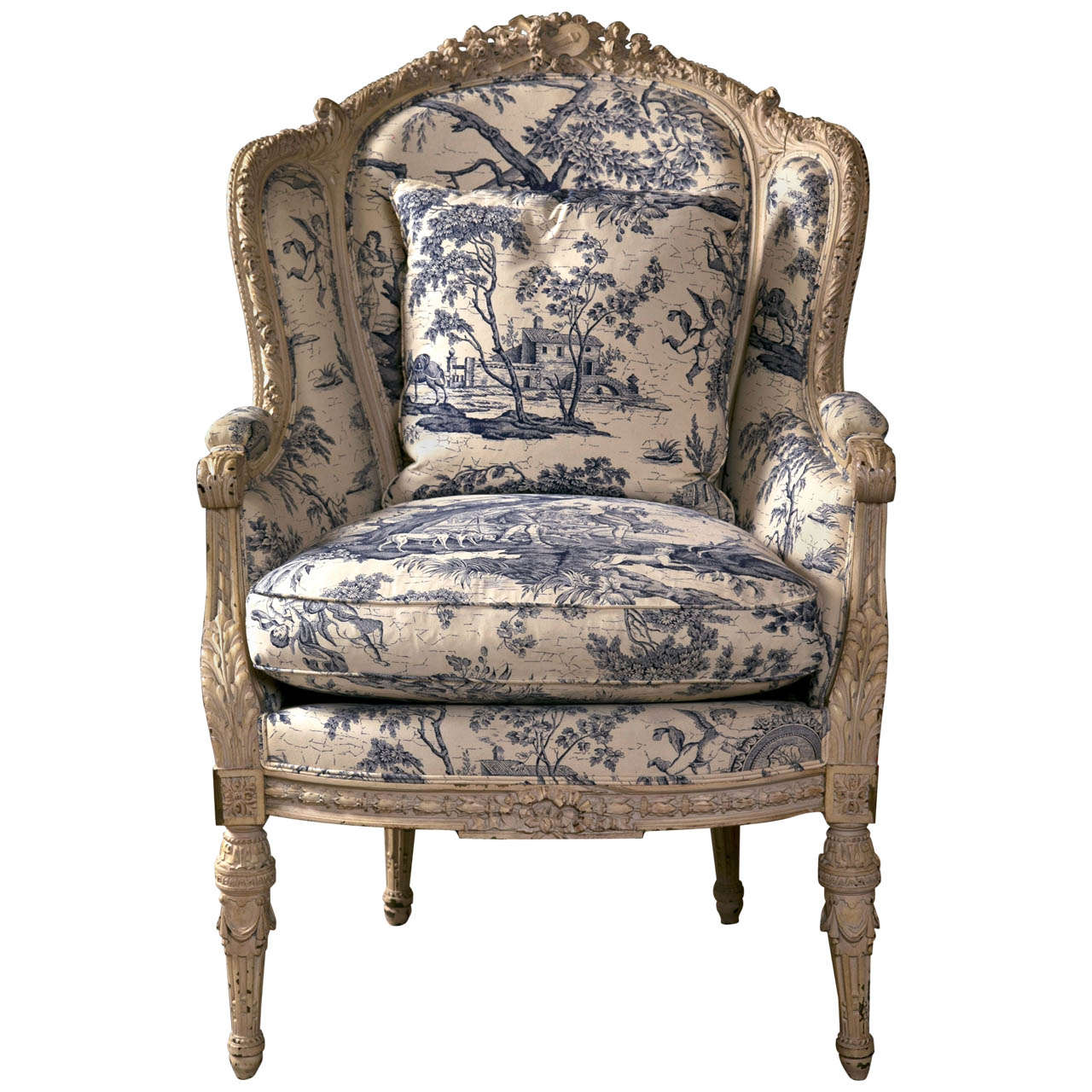 Toile Chair 19th C Antique French Wingback Bergere Chair At 1stdibs