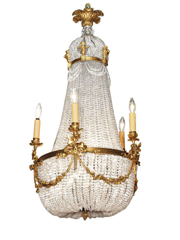 Antique French Empire Chandelier Crystal And Bronze 1