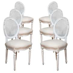 Dining Chairs With Caning Folding Exercise Chair Six Louis Xvi Style Painted Caned Backs For Sale