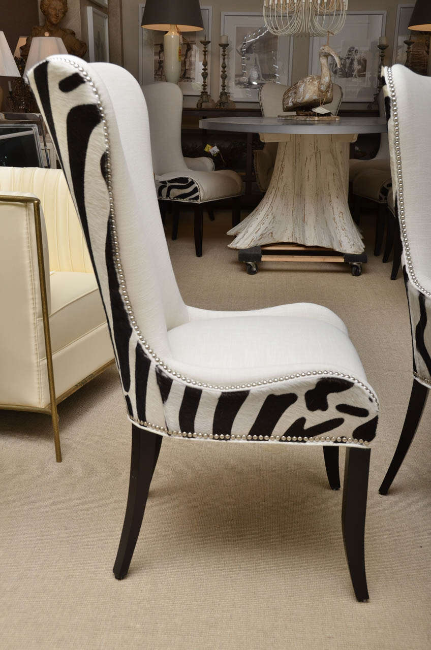 Set Of Eight Zebra Stenciled Cowhide Dining Chairs For