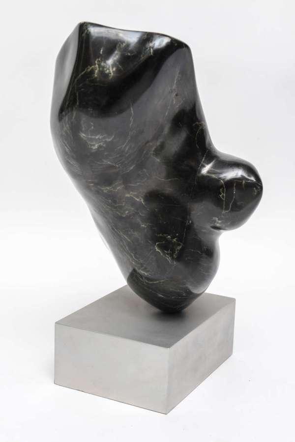 Modern Art Black Marble Sculpture Wood Base 1stdibs
