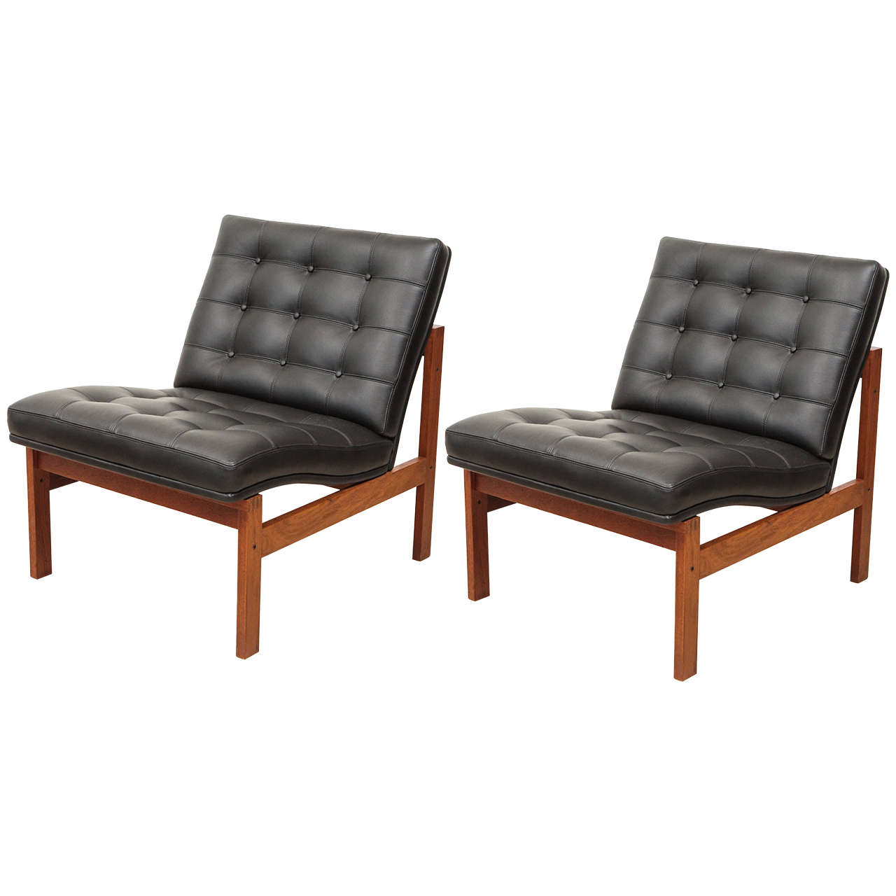 Armless Lounge Chair Pair Of Armless Lounge Chairs By Ole Gjerløv Knudsen And Torben Lind