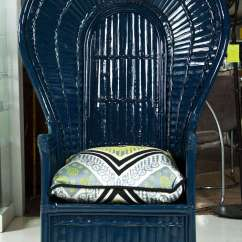 Ficks Reed Chair Rustic Metal Dining Chairs Uk Painted Navy Blue Lacquered Fan At 1stdibs