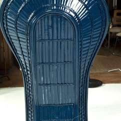Fan Back Wicker Chair Leveraged Freedom Painted Navy Blue Lacquered At 1stdibs
