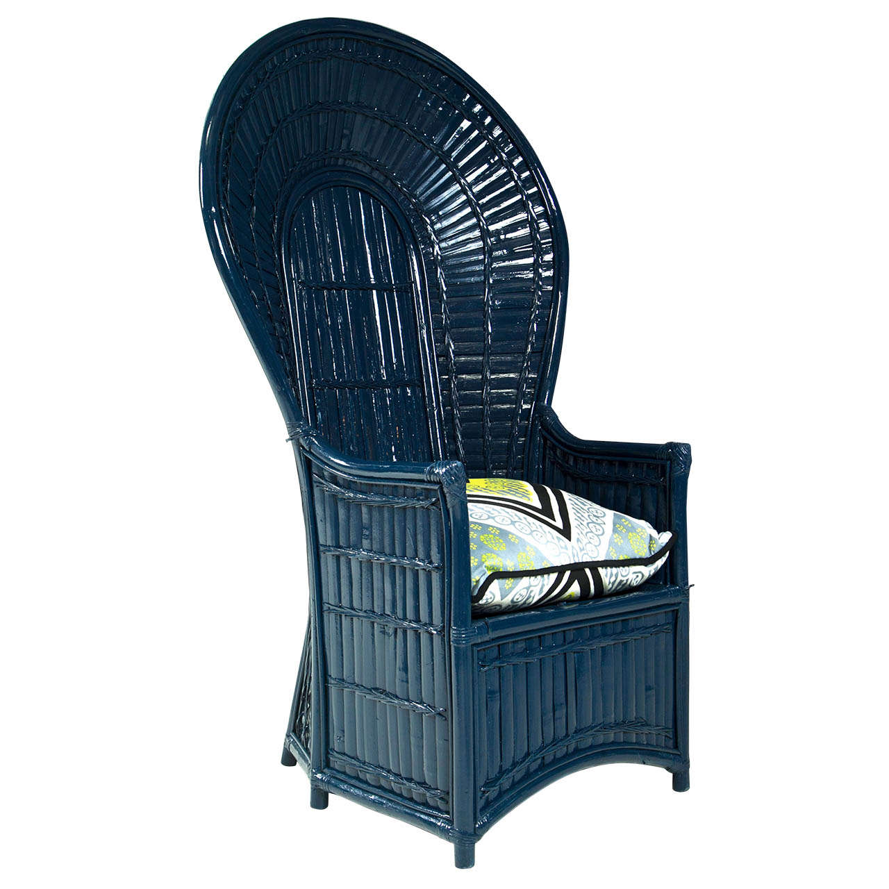 fan back wicker chair patio leg caps painted navy blue lacquered at 1stdibs