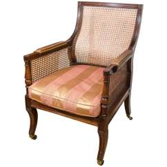 Bergere Chairs For Sale Foldable High Regency Caned Library Chair At 1stdibs