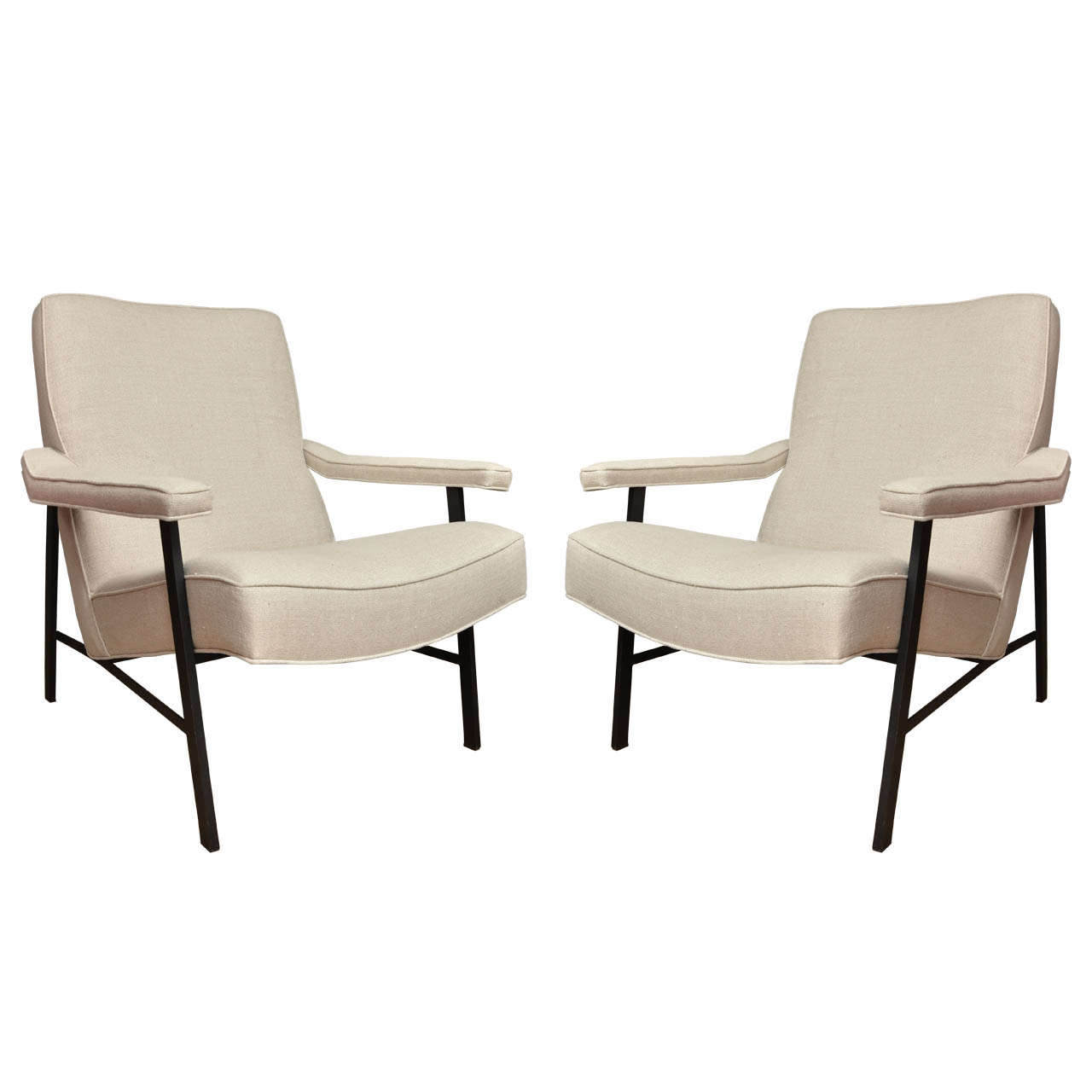 metal frame chairs design chair white pair of linen upholstered arm at 1stdibs