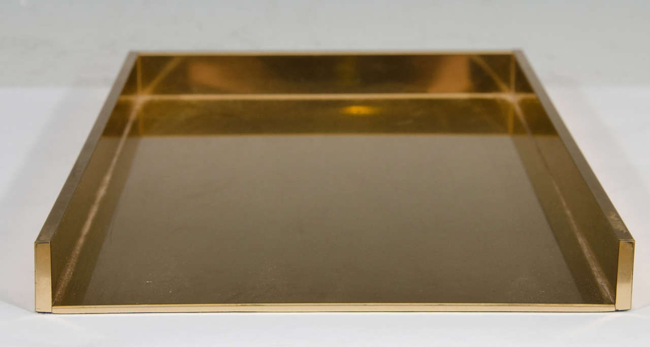 Vintage Pair of Sleek Brass Stackable Paper Trays or Desk