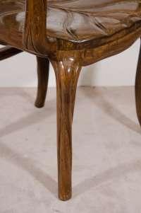 Art Nouveau Style, Pair of Sculptural Leaf Motif Armchairs ...