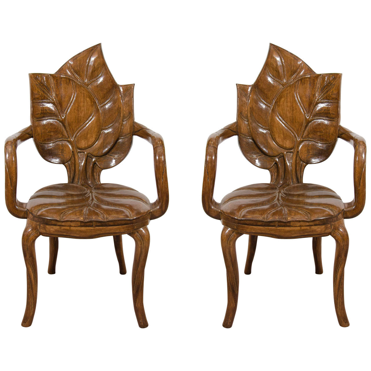Artistic Chairs Art Nouveau Style Pair Of Sculptural Leaf Motif Armchairs
