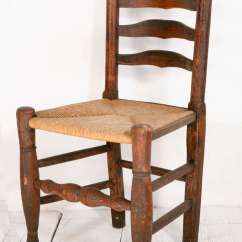 Antique Ladder Back Chairs With Rush Seats Childrens Arms Turn-of-the-century And Woven Seat Chair At 1stdibs