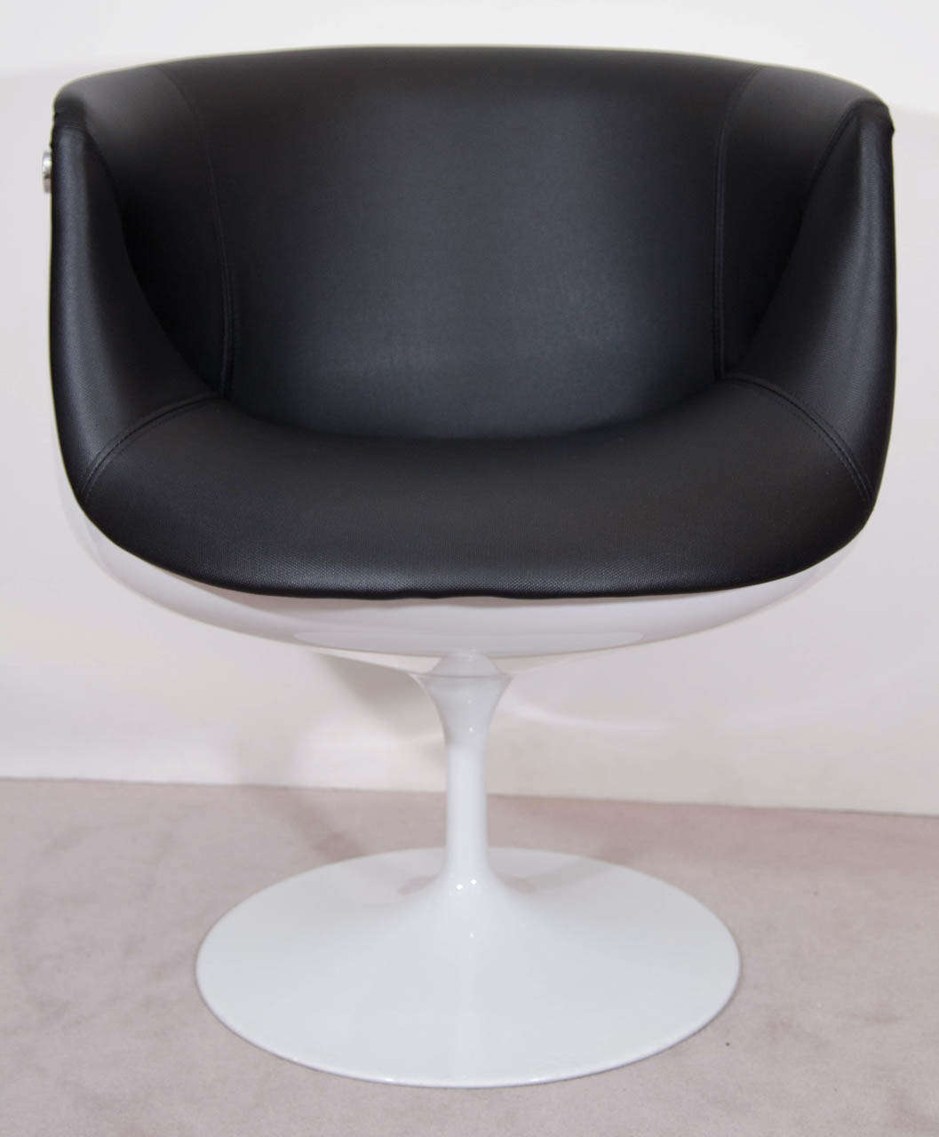 mid century egg chair recliner arm covers a pair of half tulip swivel chairs at 1stdibs
