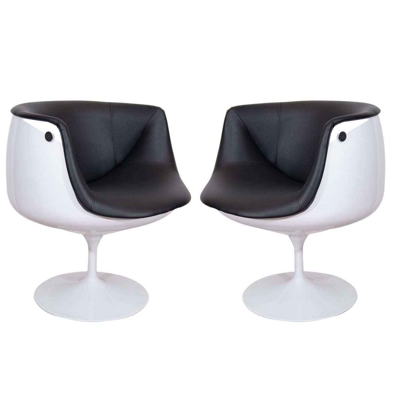 swivel chair egg toddler time out with buckle a mid century pair of half tulip chairs at 1stdibs