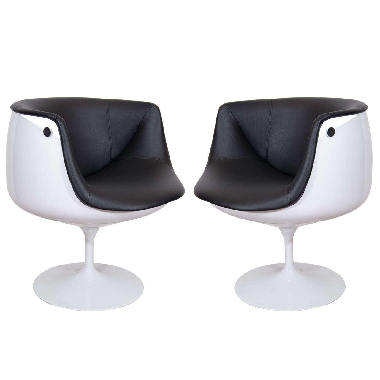 mid century egg chair office depot hardwood floor mat a pair of half tulip swivel chairs at 1stdibs