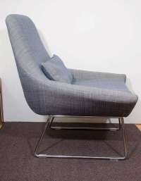 A Mid Century Lounge Chair With Blue Twill Fabric at 1stdibs