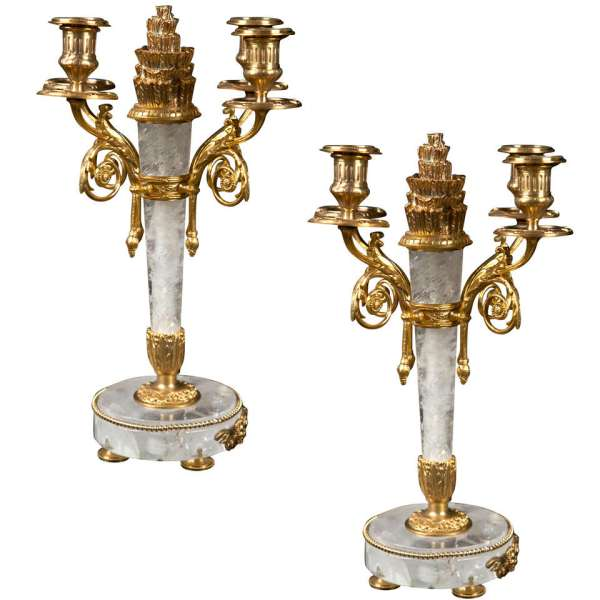 Pair Of Rock Crystal And Bronze Candelabra 1stdibs