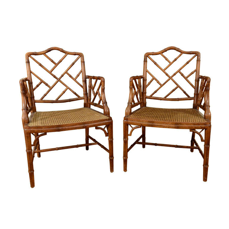 Pair of Vintage Faux Bamboo Chinese Chippendale Arm Chairs