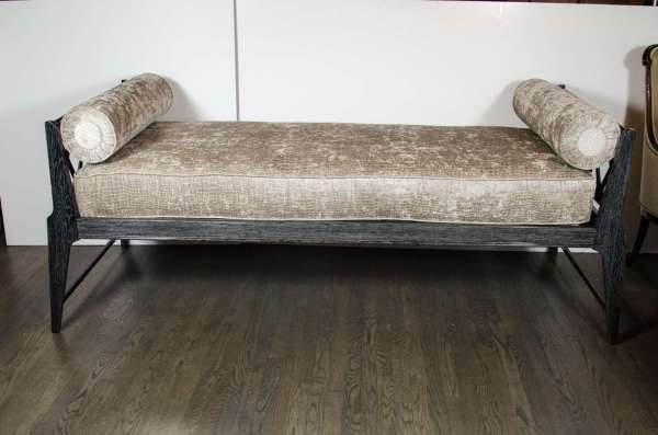 Mid-century Modernist Silver Ceruse Daybed In Manner