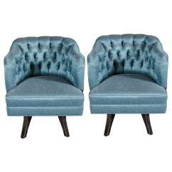 Teal Tufted Chair Ninja Turtle Toys R Us Pair Of Mid Century Modernist Back Swivel Chairs In