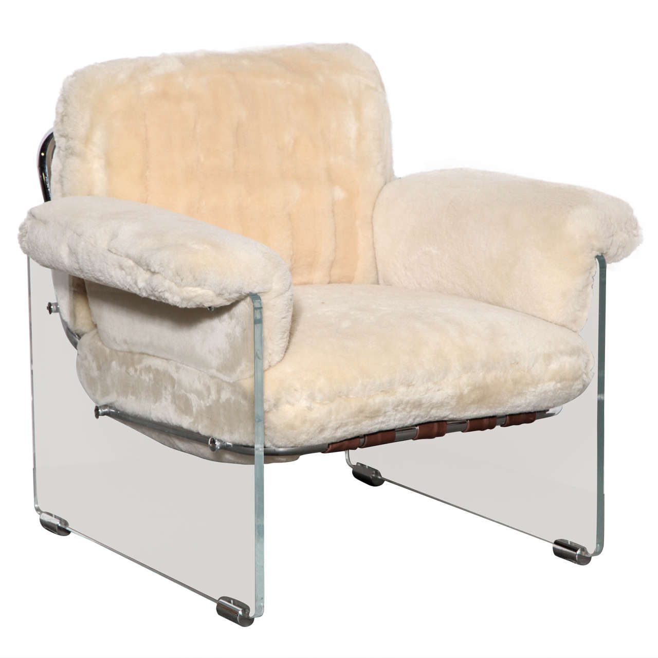 Lucite Chair Pace Argenta Lucite Shearling Floating Club Chair