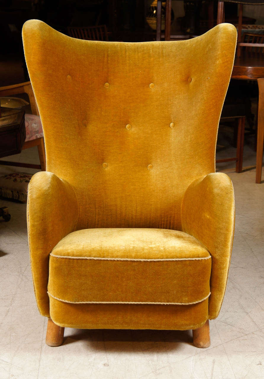mid century modern leather accent chair folding kijiji danish upholstered high back attributed to flemming lassen for sale at 1stdibs