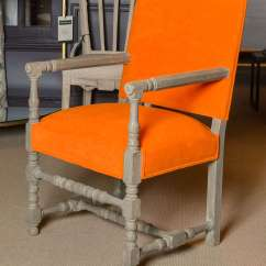 Orange Upholstered Chair Cane Seat Chairs For Sale Arm At 1stdibs