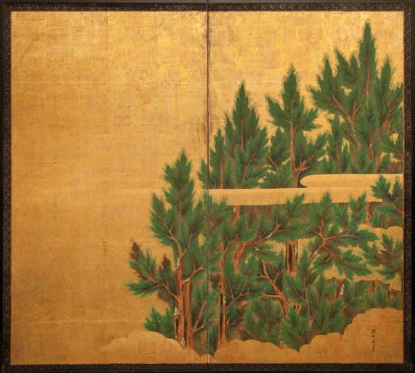 Japanese Two-panel Screen Cedar Gold With Stylized