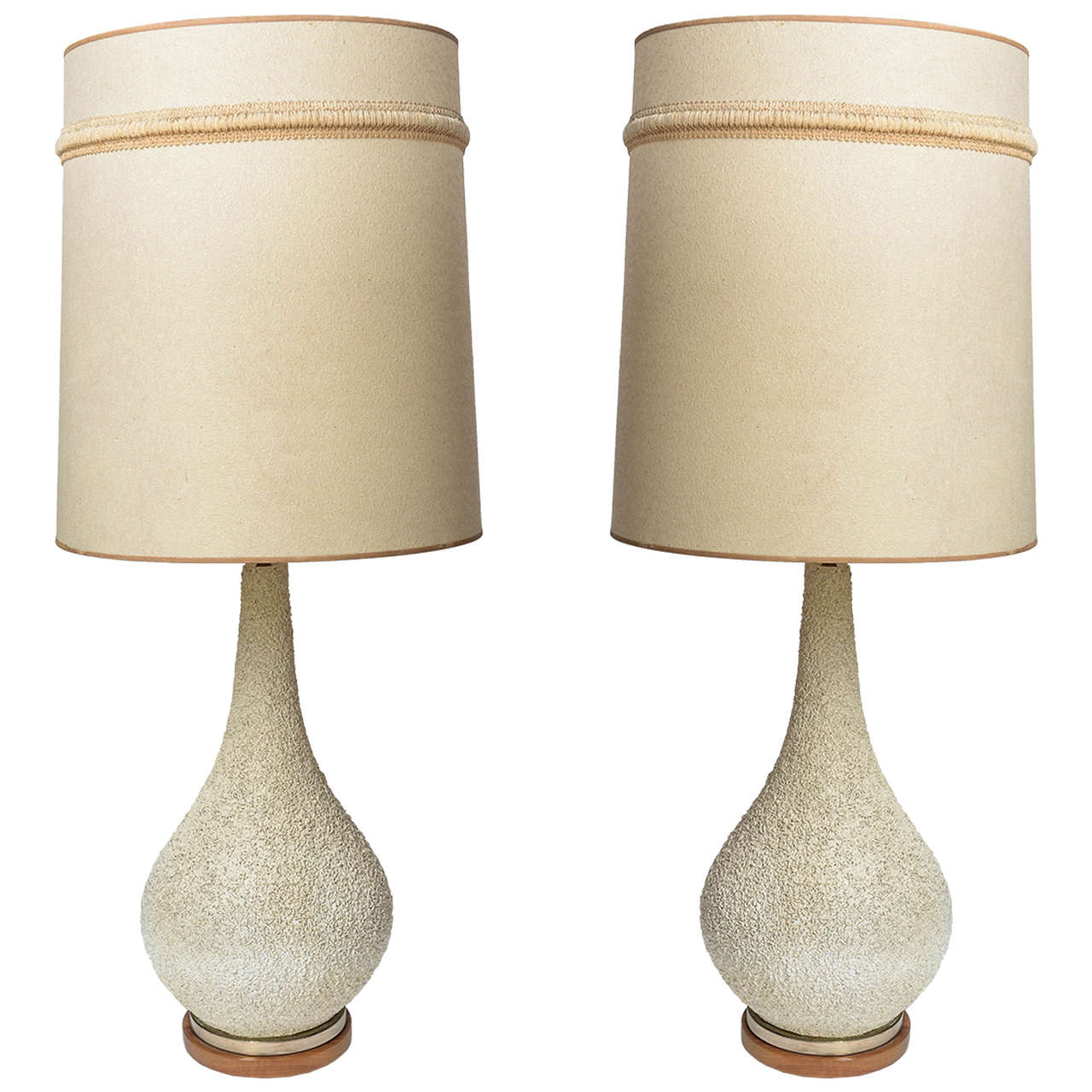Tall Pair Of Mid Century Modern Danish Style Pottery Textured Lamps At 1stdibs