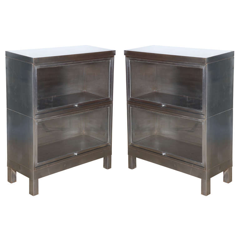 Pair Of Steel Barrister Bookcases At 1stdibs