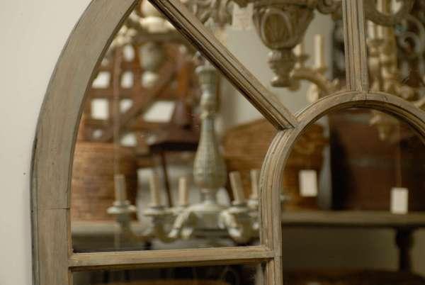 French Window Frame Palladium Painted Wood Mirror at 1stdibs