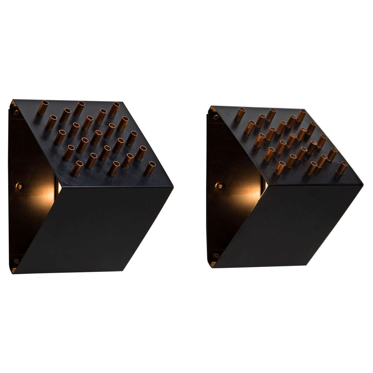 Unique Triangle Shaped Pair Of Wall Lamps With Copper