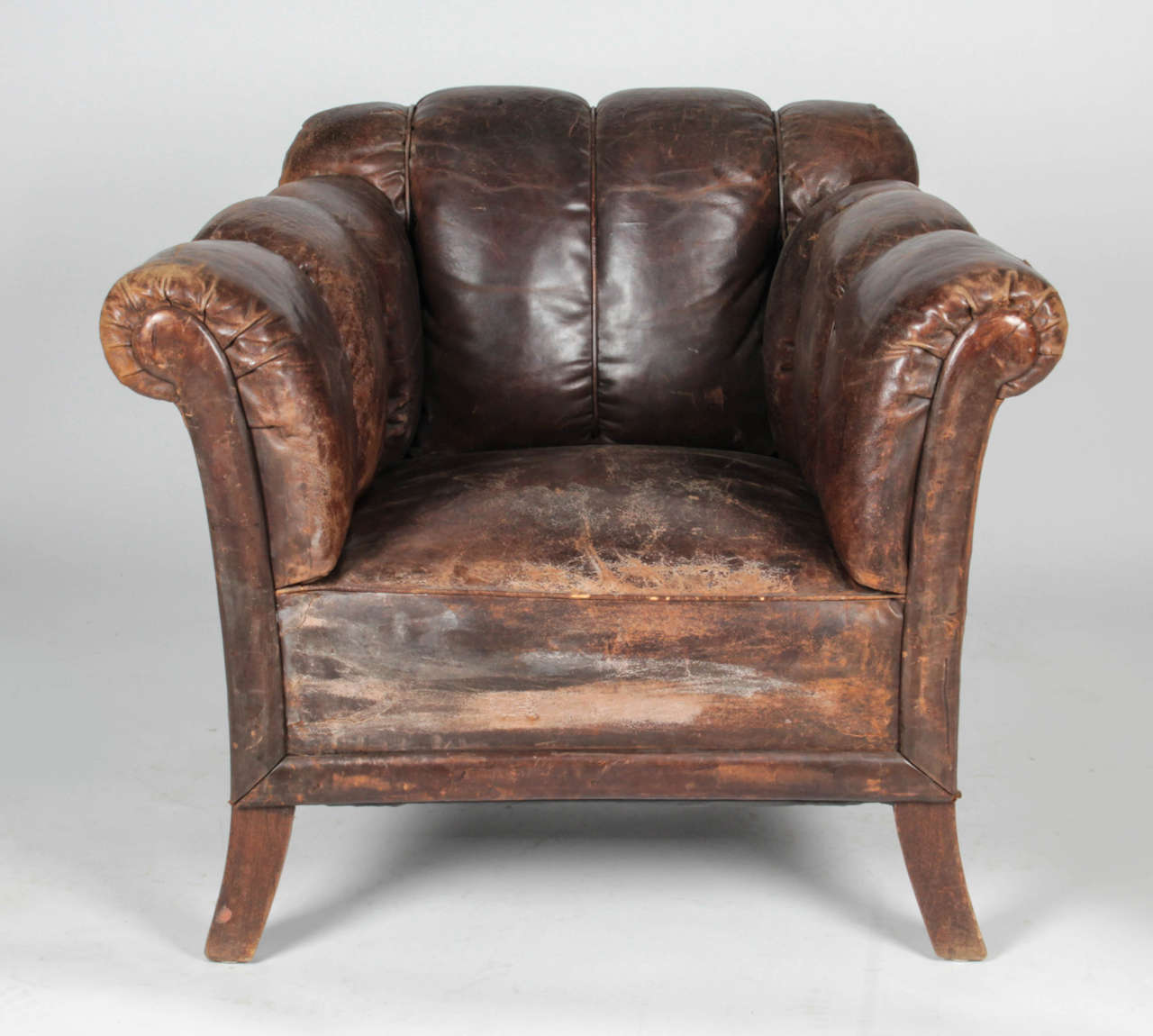 Chair For Sale 20th Century Distressed Vertical Tufted Leather Club