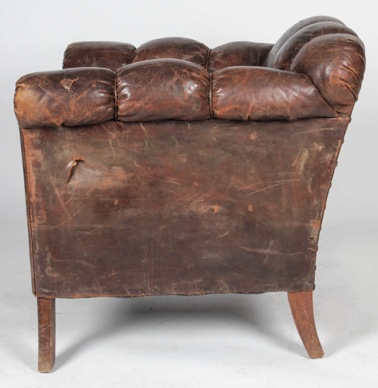 leather club chairs for sale medical office waiting room 20th century distressed vertical tufted