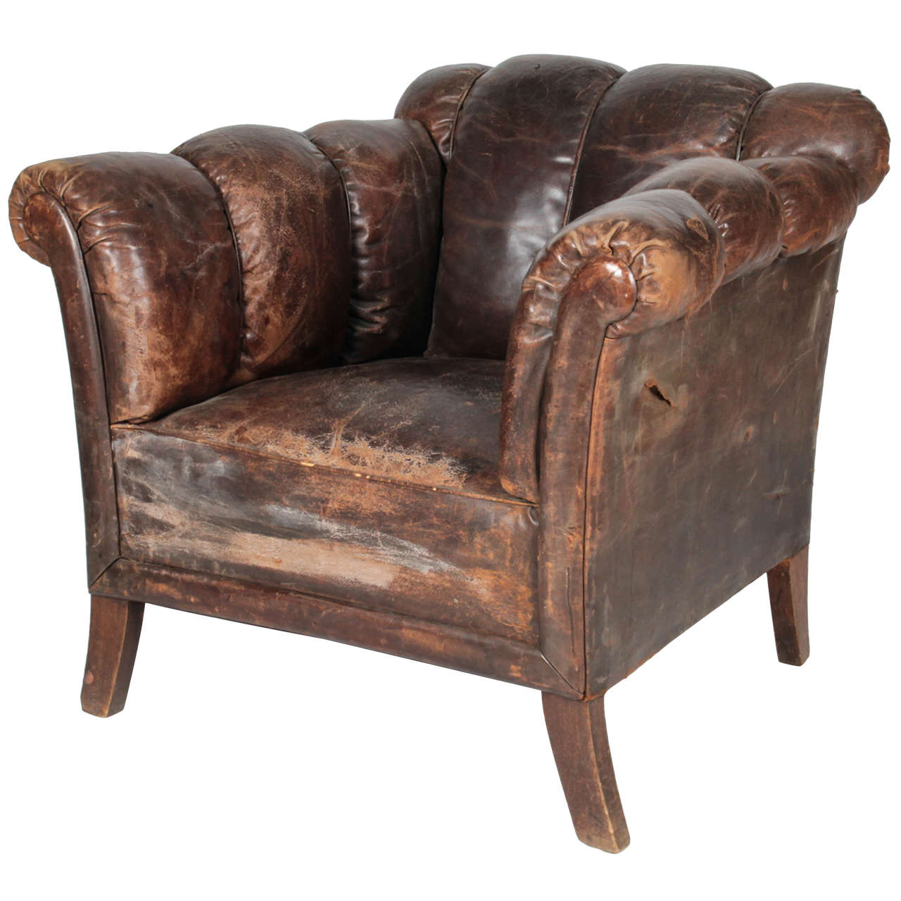 Boon High Chair Sale 20th Century Distressed Vertical Tufted Leather Club