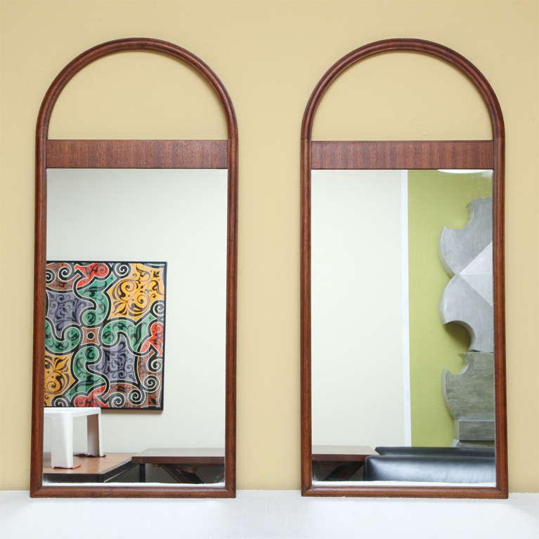PAIR Architectural Mahogany Arch Top Pier Mirrors At 1stdibs