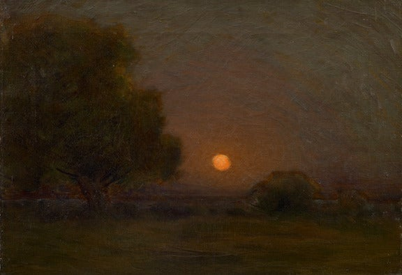 Arthur Wesley Dow Moon Through The Trees Painting At
