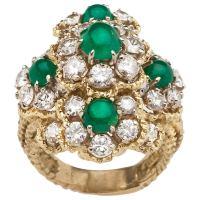 Cabochon Emerald and Diamond Ring, Hammerman Brothers at ...