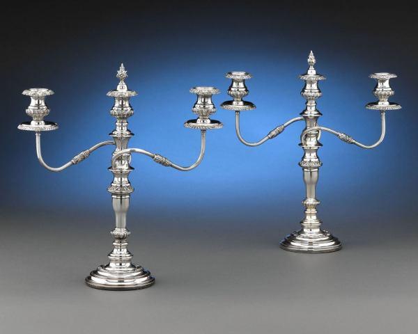 Sheffield Silver Three-light Candelabra 1stdibs