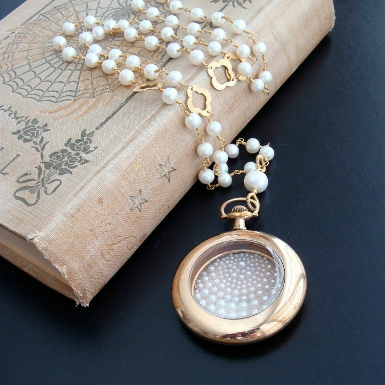 Sailors Valentine Pocket Watch Cultured Pearl Simulated