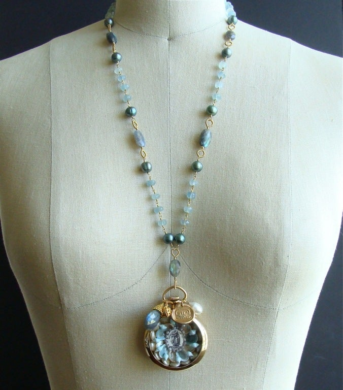 Sailors Valentine Aquamarine Labradorite Necklace