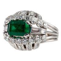Vintage 1950s Emerald and Diamond Bombe Platinum Cocktail ...
