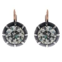 Antique Russian Old Mine Cut Diamond Earrings at 1stdibs