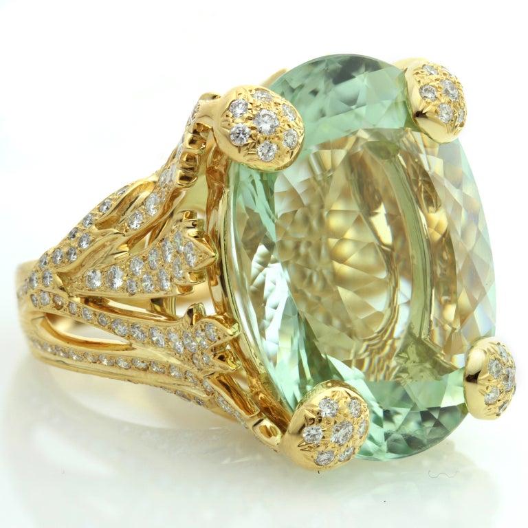 CHRISTIAN DIOR Aquamarine Diamond Large Green Ring at 1stdibs