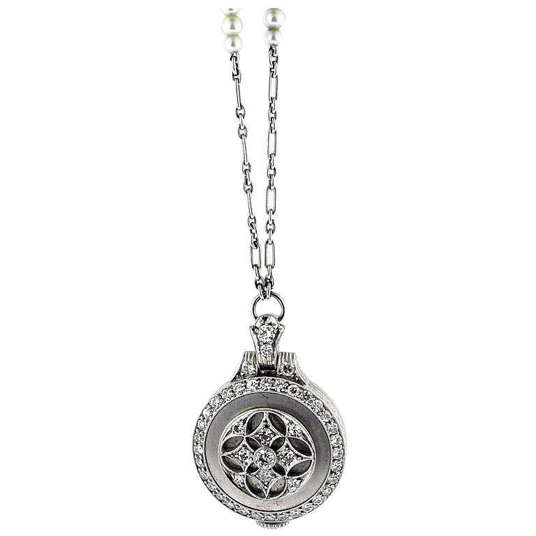 Edwardian Platinum&Diamond Pendant-Watch on Platinum&Pearl