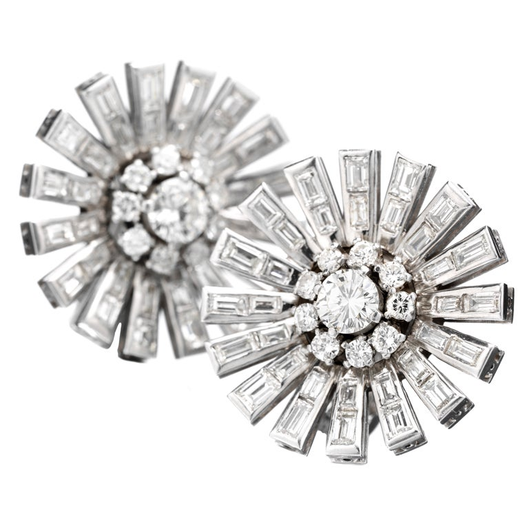 PAUL FLATO A Pair of Diamond 'Starburst' Ear Clips at 1stdibs